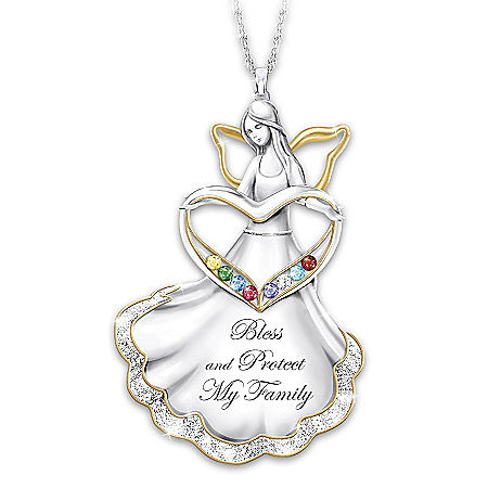 Bless And Protect My Family Women's Personalized Birthstone Sterling Silver-Plated Angel Pendant Necklace With 18K Gold-Plated A