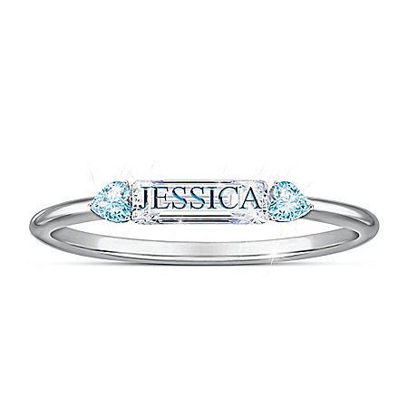 Together We're Family Women's Personalized Sterling Silver Ring Featuring A Simulated Diamond Center Stone With Crystal Birthsto