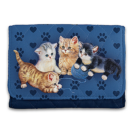 Kitty-Kat Cute Quilted Tri-Fold Wallet With RFID Blocking Technology