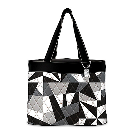 Geometric Gem Quilted Tote Bag With Hanging Charm