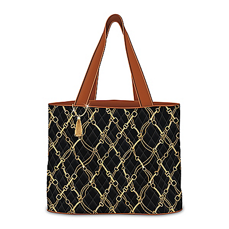 Quilted Designer Tote Bag Featuring A Gold Chain Pattern