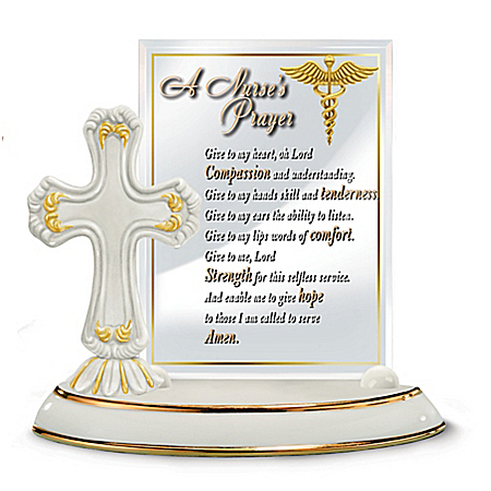 Nurse's Blessing Cross Sculpture With Glass Prayer Plaque