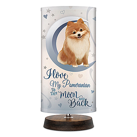 Pomeranian Dog Artistic Table Lamp With Fabric Shade