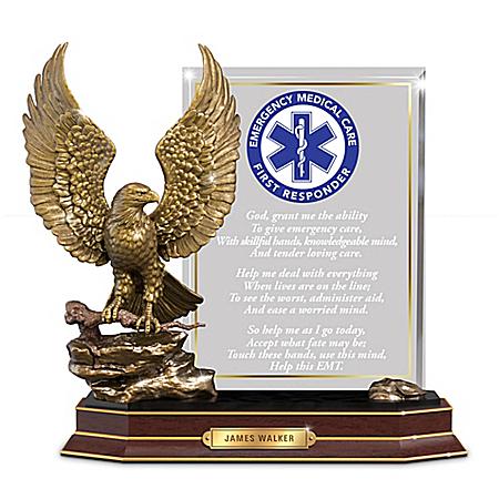 Personalized EMT Prayer Sculpture With Golden Eagle