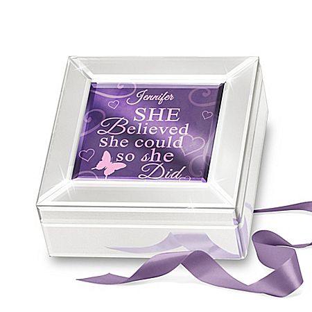 She Believed She Could Personalized Mirrored Glass Music Box