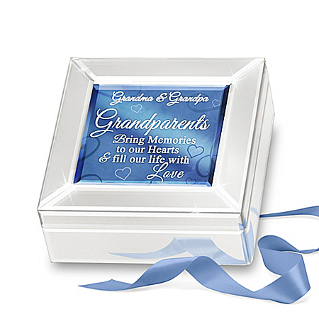 Personalized Mirrored Glass Music Box For Grandparents