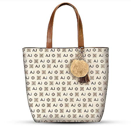 Beige Tote Bag With Your Initials In Designer Style Pattern