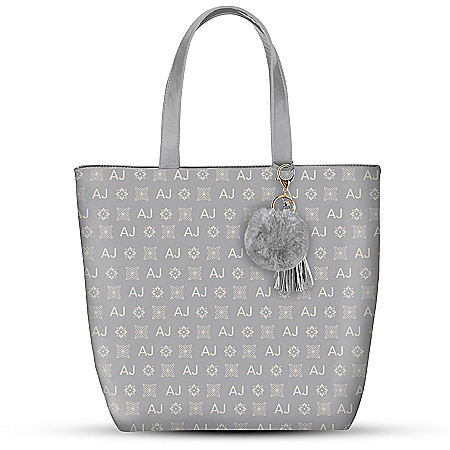 Gray Tote Bag With Your Initials In Designer-Style Pattern