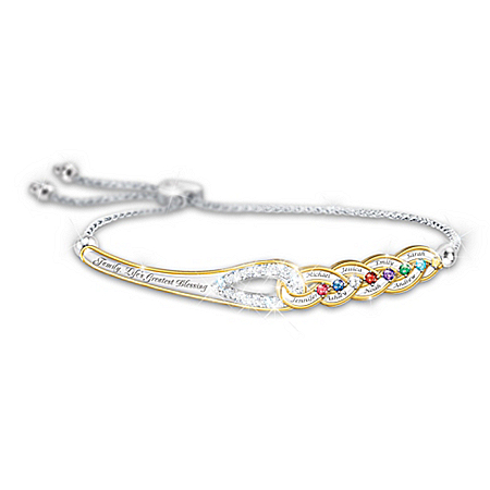 Our Family's Strength Of Love Sterling Silver-Plated Personalized Birthstone Bracelet Featuring An Interlocking Design With 18K