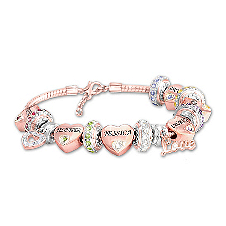 Forever In A Mother's Heart Women's 18K Rose Gold-Plated Personalized Birthstone Charm Bracelet – Personalized Jewelry