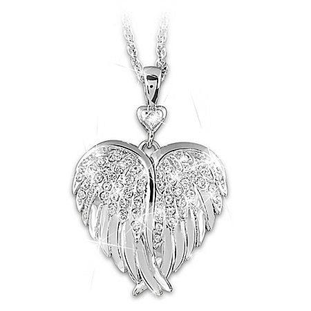 Guardian Angel Crystal And Diamond Silver-Plated Locket