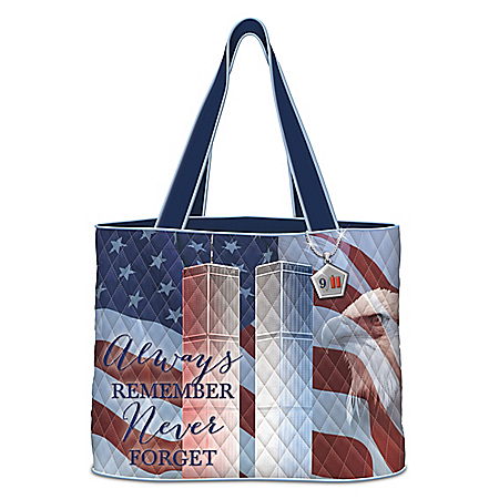 Always Remember 9/11 Quilted Tote Bag With Pentagon Charm