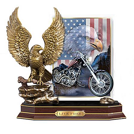 Live Free Eagle Sculpture With Patriotic Biker Art Plaque