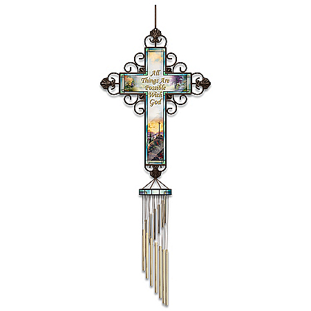 Thomas Kinkade Faith Wind Chime With Metal Cross