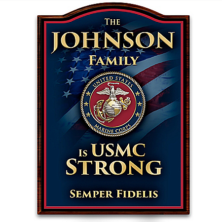 USMC Welcome Sign Personalized With Family Name