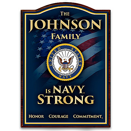 U.S. Navy Welcome Sign Personalized With Family Name