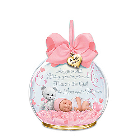 Baby Girl Glass Ornament Personalized With Name & Birthdate