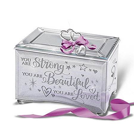 Mirrored Music Box With Personalized Charm For Granddaughter