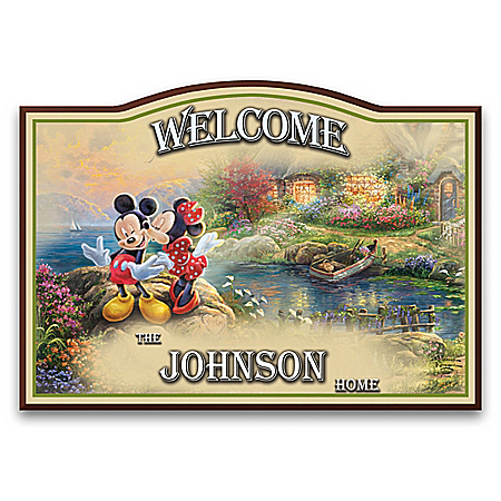 Disney Personalized Wooden Welcome Sign By Thomas Kinkade