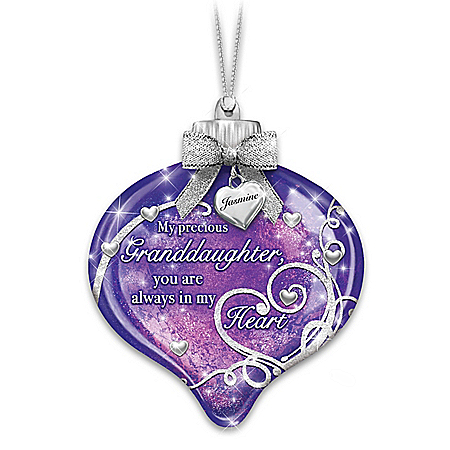 Illuminated Granddaughter Ornament With Personalized Charm