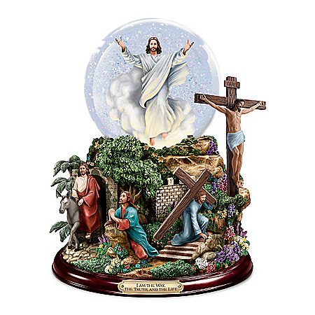 Visions of Christ Glitter Globe With Lights And Music