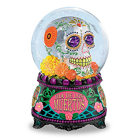 Glow-In-The-Dark Dia De Los Muertos Glitter Globe With Music