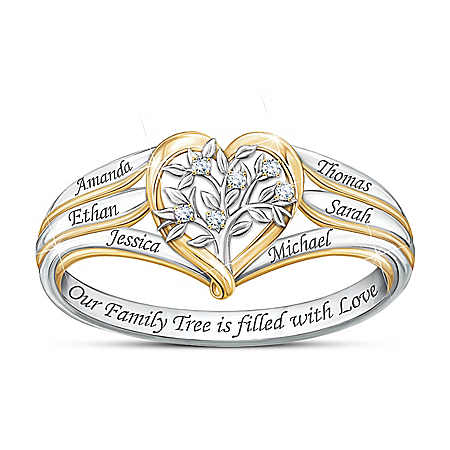 Our Family Tree Women's Personalized Sterling Silver Ring Featuring A Heart-Shaped Design Adorned With 6 Diamonds & 18K Gold-Pla