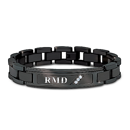 My Grandson, My Pride And Joy Personalized Black Ion-Plated Stainless Steel Bracelet Monogrammed With 3 Initials & Adorned With