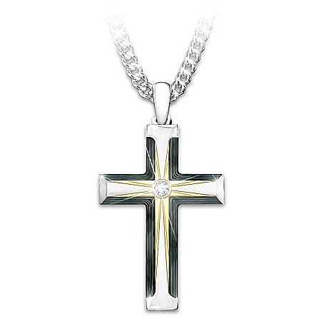 God Loves My Grandson Cross Necklace With Lighted Box