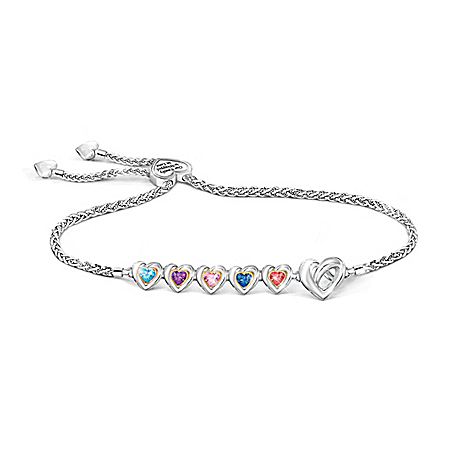 Wrapped In Love Personalized Sterling Silver-Plated Bracelet Featuring Up to 6 Heart-Shaped Crystal Birthstones With Sliding Hea