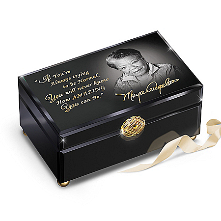 Dr. Maya Angelou Glass Music Box With Inspirational Quote