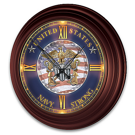 U.S. Navy Indoor/Outdoor Illuminated Atomic Wall Clock