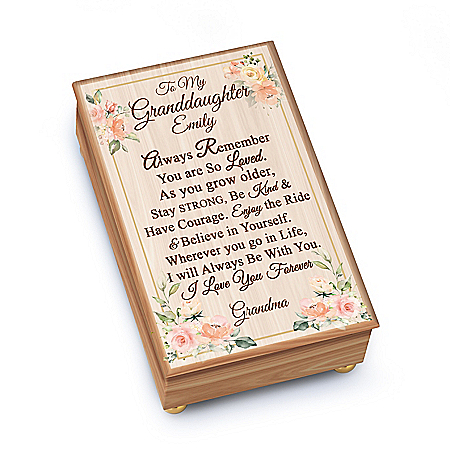 To My Granddaughter Personalized Wooden Music Box