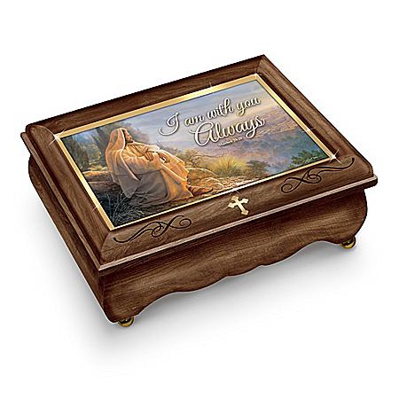 Greg Olsen I Am With You Always Jesus Art Wooden Music Box
