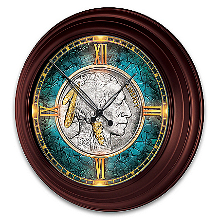 Buffalo Nickel Illuminated Atomic Wall Clock