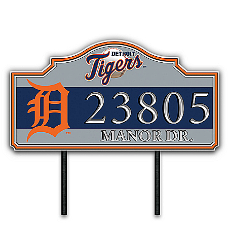 Detroit Tigers Personalized Outdoor Address Sign