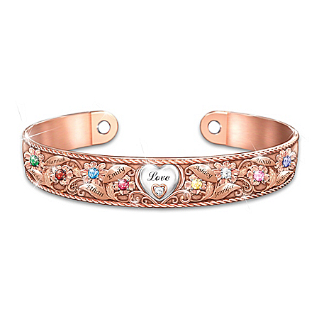 Mom's Garden Of Love Copper Bracelet With 18K-Rose Gold Plating Featuring A Floral Design Personalized With Up To 8 Names & Crys