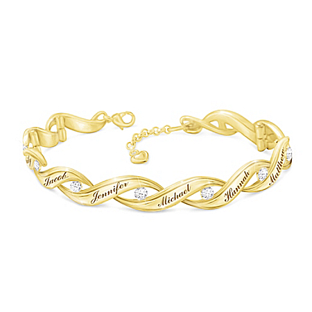Family Of Love Women's Personalized 18K Gold-Plated Wave-Shaped Link Bracelet Adorned With 10 Diamonds & Comes With A Gift Box –