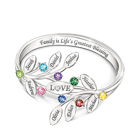 Family Of Love Women's Personalized Sterling Silver Birthstone Ring Featuring A Unique Design Of Woven Leaves With An Engraved H