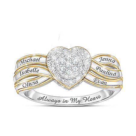 A Mother's Heart Women's Sterling Silver Ring With 18K Gold-Plated Accents Featuring A Heart-Shaped Pave Of Diamonds Personalize