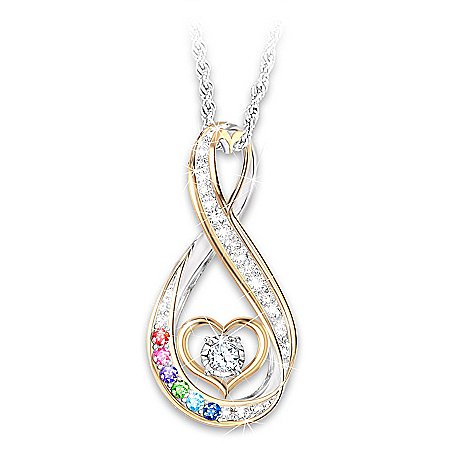 An Amazing Mother Sterling Silver Infinity Pendant Necklace With 18K Gold-Plated Accents & Diamond Center Stone Personalized Wit