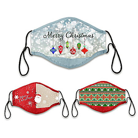 3 Christmas Adult Face Masks Featuring Holiday Artwork