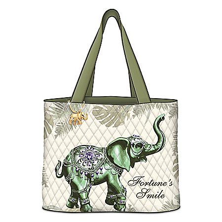 Fortune's Smile Quilted Tote Bag With Elephant Charm
