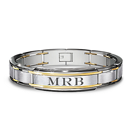 The Strength Of My Son Personalized Stainless Steel Bracelet Featuring 24K Gold-Plated Accents With A Finely Etched Sentiment On
