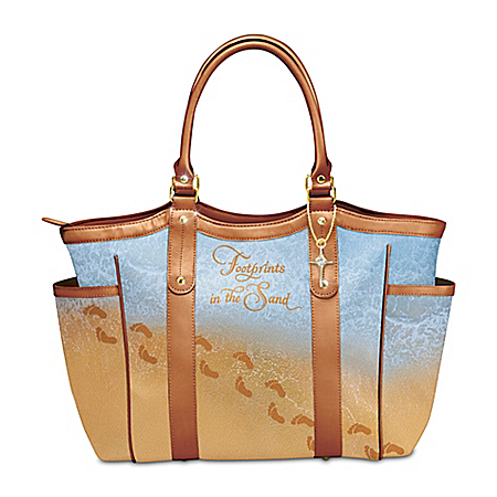 Footprints In The Sand Shoulder Tote Bag With Cross Charm