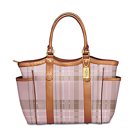 Pink Plaid Shoulder Tote With Personalized Monogrammed Charm