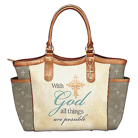 With God All Things Are Possible Tote With A Cross Charm
