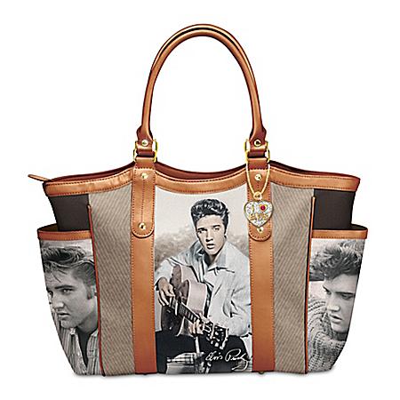I Love Elvis Shoulder Tote Bag With A Heart Charm
