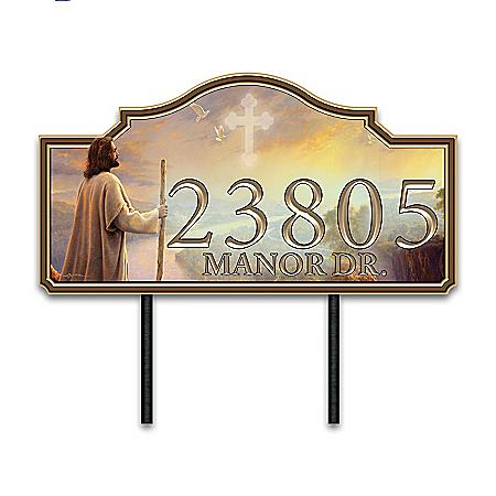 Greg Olsen's Jesus Art Personalized Outdoor Address Sign