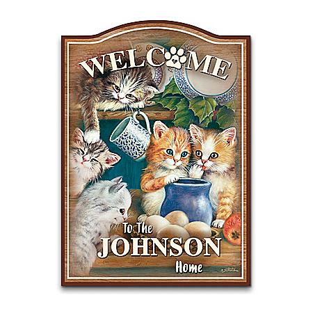 Jürgen Scholz Kitten Cuties Personalized Welcome Sign